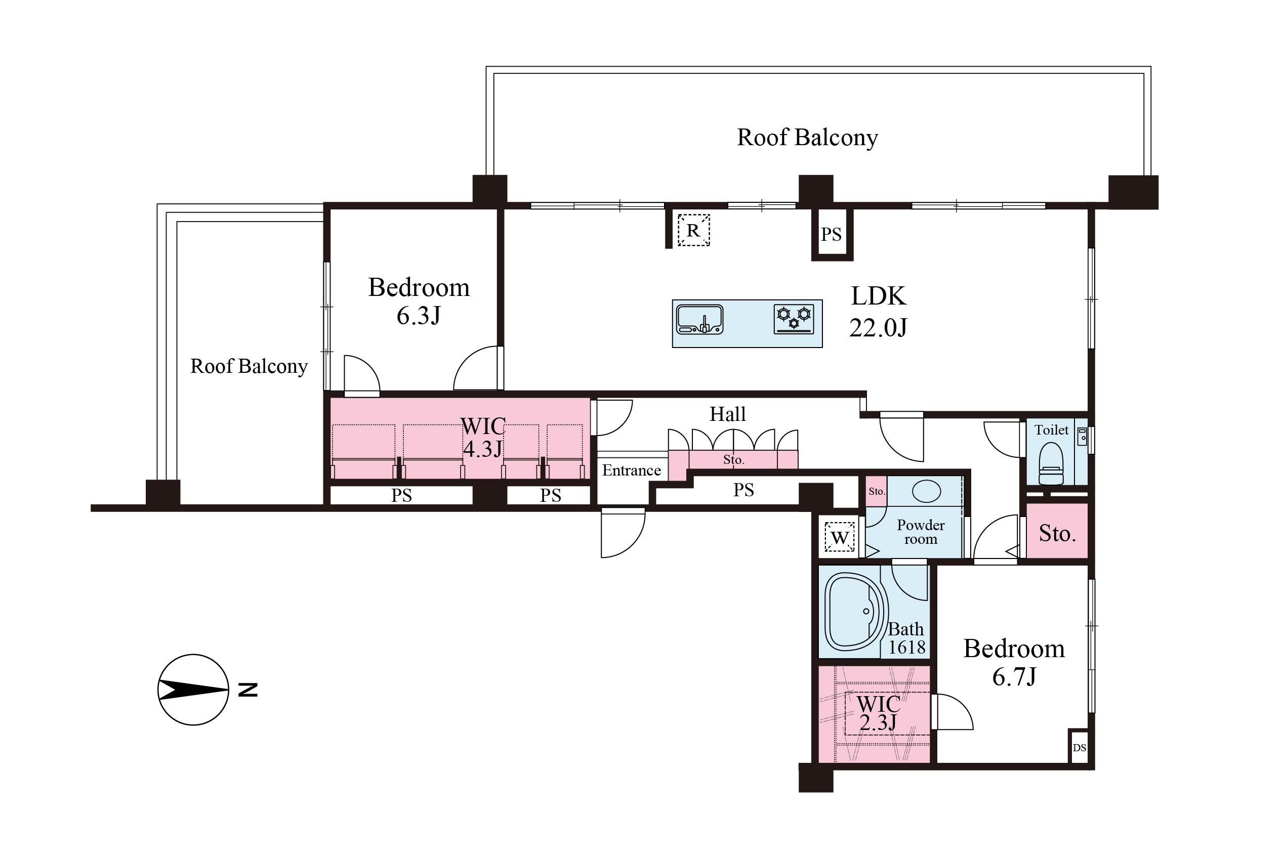 38.49m2の二面ルーフバルコニー、三方角部屋、95.49m2の2LDK+2WIC